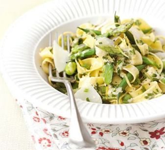 Spring Vegetable Pasta with Lemon and Chive sauce