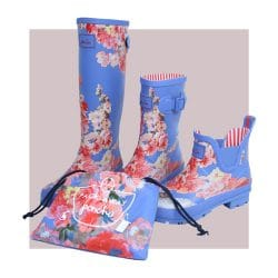 Joules blue floral wellies