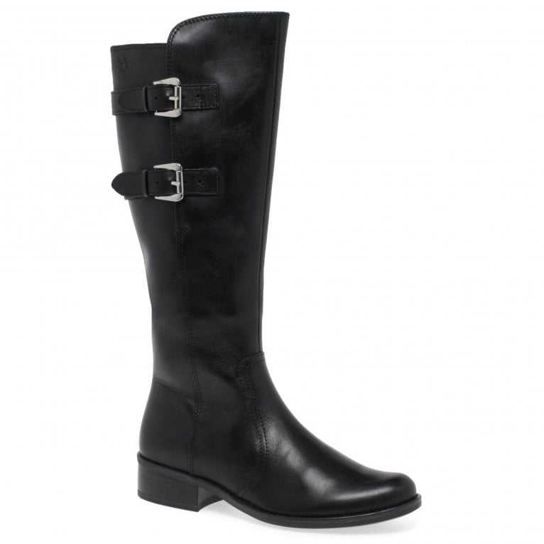 Caprice Sloan Womens Leather Buckle Long Zip Boots