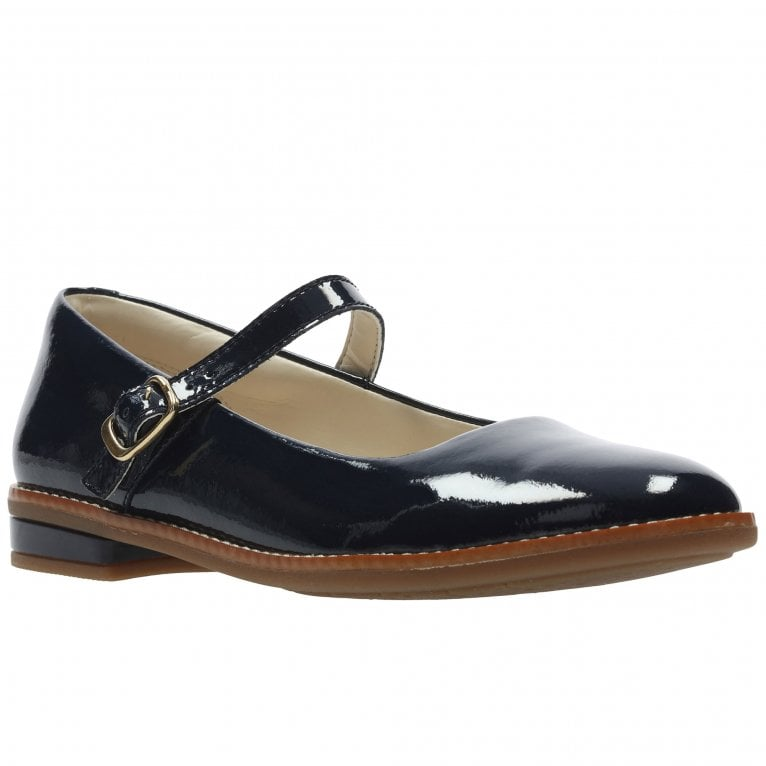 Clarks Drew Sky Girls Junior Patent Leather Mary Jane Ballerina Shoes