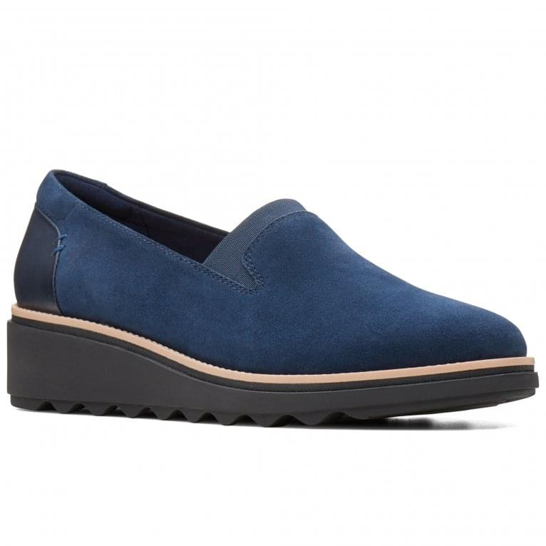 Clarks Sharon Dolly Womens Navy Suede Wedge Heel Shoes