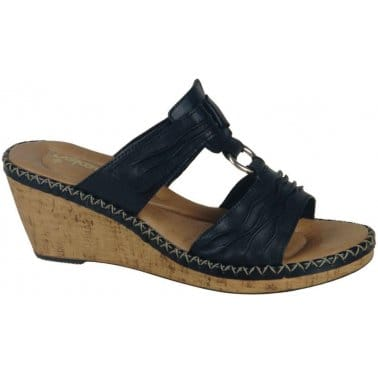 Clarks Womens Kendra Sienna Shoes Dark Blue Snake