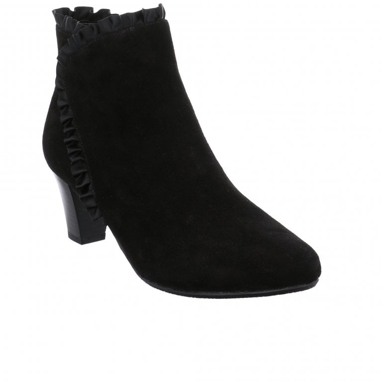 Lena 23 Womens Suede Satin Ruffle Ankle Boots