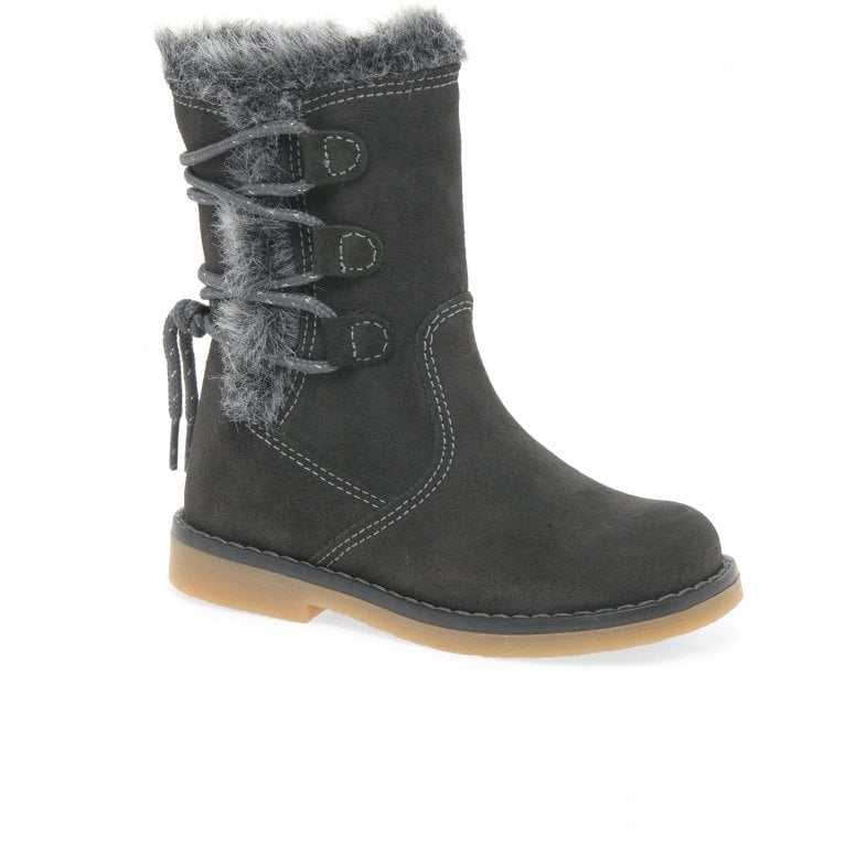 Kids at Clinks Rosana Girls Suede Faux Fur Lace Detail Boots