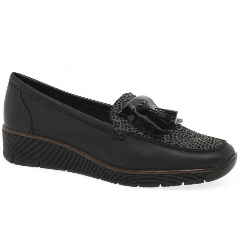 Rieker Flora Ladies Low Wedge Heel Tassel Loafer