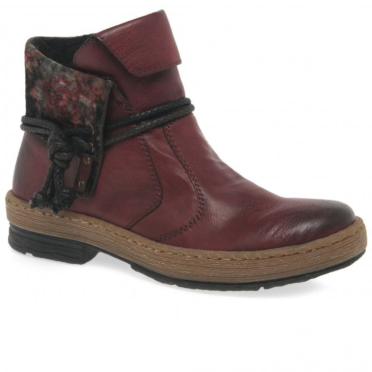 Rieker Garnet Womens Rope Trim Ankle Boots